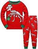 Jungen Mädchen Zweiteiliger Weihnachten Dinosaurier Schlafanzug Kinder Pyjama Junge Langarm Winter Nachtwäsche Weihnachten Pyjama Baby Mädchen 134 (Christmas Dinosaurs-6279 8T)