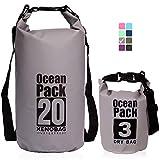 XENOBAG Wasserfeste Tasche 3 Liter/Dry Bag, klein/Ocean Pack 3l / wasserdichter Beutel/Drybag mit verstellbarem Schultergurt und Sicherheitsverschluss (Grau, 3 Liter)