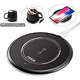 FEIGO Tassenwärmer 2 IN 1 Wireless Charger USB Kaffeewärmer Automatischer Schwerkraftschalter Getränkewärmer mit Keramiktasse für Tee, Kaffee, Milch, Büro, Zuhause, PC, Notebook
