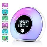 Lichtwecker mit Bluetooth Lautsprecher, ZOTO Wake Up Licht Kinderwecker mit LCD Display, 5 Farbeinstellung, 4 Helligkeit, und Vibration Induction Nachtlicht für Kinder, Schlafzimmer