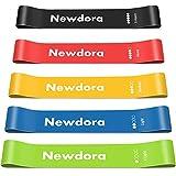 Newdora Fitnessband [5er Set] Widerstandsbänder Theraband mit Übungsanleitung, Gymnastikband aus Naturlatex für Muskelaufbau Pilates Yoga, Hüfte Beine Crossfit Männer Frauen
