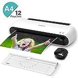 ABOX Laminiergerät A4 A5 A7 mit Papierschneider Eckenabrunder und 12 Laminierfolien, 300 mm/min und ABS Funktion OL145 Laminierset für Schule, Büro und Zuhause, Weiß