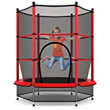 GOPLUS Trampolin Gartentrampolin Outdoor Indoor Trampolin Kindertrampolin Sprungmatte mit Sicherheitsnetz 160cm Farbwahl (Rot)