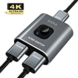 HDMI Switch HDMI Splitter,GANA Aluminium HDMI Switcher Bidirektionaler 2 In 1 Out oder 1 In 2 Out Manueller HDMI Umschalter unterstützt HD 4K 3D für HD TV/Fire Stick/Xbox/PS3/PS4(Farbe zufällig)