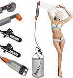 FLYFISH Tragbare Camping-Dusche, kompakte Duschpumpe mit 2X 2200mAh- wiederaufladbarem USB-Akku, Hand-Außenduschkopf für Camping, Wandern, mit 3,7-V-Pumpe, 6-Ft-Schlauch, Bidetkopf