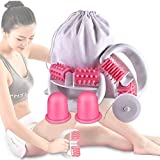 Anti Cellulite Roller Massageroller & Schröpfen Cup Set Anti Cellulite Massage gegen Cellulite und Hautproblemen Massagegeräte Tools Set mit Transport-Tasche und Lineal,Pink