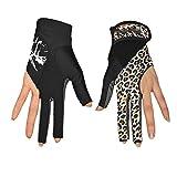 GHC Handschuhe & Fäustlinge Frauen Lycra 3 Finger Billardhandschuhe Pool Queue-Showhandschuhe für Billardschützen (Paar) (Color : Multi-Colored, Size : L)