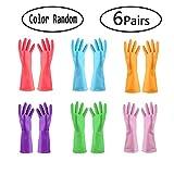 TopBine 6 Paare Gummihandschuhe,Haushalt Küche Reinigung Wasserdichte Handschuhe, gartenhandschuhe,Handschuhe reinigunghandschu (6 Farben,M)