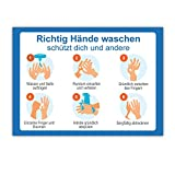 8 Stück Hinweisschild Hände richtig desinfizieren waschen   Anleitung Händedesinfektion Hände waschen Aufkleben   Hygiene Desinfektion   Handdesinfektion Händewaschen