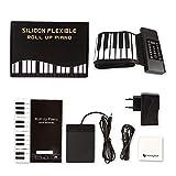 DOUBLELU Keyboard Klavier Faltbare 88 Tasten, Keyboard Klavier Kinder Lernen 88 Tasten Flexible Soft Electronic Digital Midi Roll Up Keyboard Piano