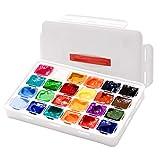 ZITFRI 24 Gouache Farben Set mit 24 Gouachefarben x 30ml, Gouache Mal Set zum Malen auf Leinwänden/Wasserfarben Papier, tragebar