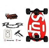 Mini Longboard Cruiser Skateboards-Kleines Skateboard für Erwachsene und Kinder, mit breitem Skateboard Deck 17.5 Inch, in Ahorn und Large Longboards Wheels für Anfänger und Profis (rot)
