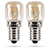 HEITECH Backofenlampe 2er Pack 15W E14 - Backofen Glühbirne hitzebeständig bis 300 Grad für Backofen, Grillöfen, Mikrowelle - Backofen Lampe mit T22 Kapsel, 75 Lumen & 2600K
