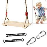 schaukel Outdoor Kinder,turnringe Kinder,Multifunktions Kinderholz Trapez,Turnringe Holz mit Kunststoff Ringe