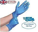 K-Mart Vinyl-Handschuhe, puderfrei, puderfrei, Einweghandschuhe, Größe S, M, L und XL, Blau, 100 Stück, M, blau, 100