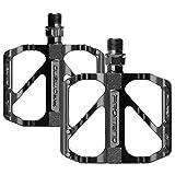 unisoul Fahrradpedale Mountain Fahrräder Pedale Rennrad, MTB Pedale mit Ultralight Aluminiumlegierung Platform, rutschfest Trekking Pedale mit Achsendurchmesser 9/16', für E-Bike, BMX, Trekking