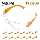 SAFEYEAR 12 Packung Klare Schutzbrille Baustelle Arbeitsbrille - SG001 Zum Schutz der Augen Gartenarbeit Kratzfest Anti-Beschlag (Orange)