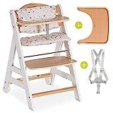 Hauck Hochstuhl Beta Plus - Mitwachsender Holz Treppenhochstuhl mit Essbrett, Schutzbügel, Sitzauflage, Gurt und Rollen - Weiß Natur