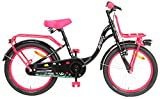 Amigo Spring - Kinderfahrrad für Mädchen - 18 Zoll - mit Handbremse, Rücktritt, Gepäckträger Vorne, fahrradständer und Beleuchtung - ab 5-8 Jahre - Schwarz/Rosa
