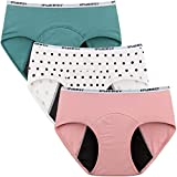 INNERSY Menstruationsunterwäsche Baumwolle Jugendliche Mädchen Perioden Slip Mehrpack 3 (M(Mädchen 12 Jahre alt), 2 Volltonfarben / 1 Punktdruck)