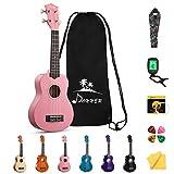 Donner DUS-10K Sopran Ukulelen Hawaii Gitarre für Kinder, Konzert Ukulele Bündel der Rainbow Serie mit Tasche Riemen Saiten Stimmgerät Picks Poliertuch 21 Zoll (Pink)