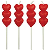 PME CA015 Kerzen mit Motiv Rotes Herz, Sortiment, 8-teilig, Kunststoff, Red, 2 x 0.5 x 9 cm