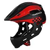 TOMSHOO Kinderfahrrad Integralhelm Kindersicherheit Skateboard Rollerblading Helm Sport Kopfschutz mit Rücklicht und abnehmbarem Kinn
