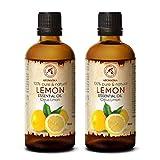 Zitronenöl 200ml - 2x100ml - Citrus Limon - Italien - 100% Reines Zitronen Öl für Guten Schlaf - Körperpflege - Wellness - Schönheit - Entspannung - Aromatherapie - Aroma Diffuser - Duftlampe