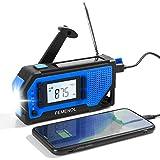 PEMENOL Outdoor Solar Radio, Multifunktion Tragbares Radio Kurbelradio, Notfallradio im Freie mit Kopfhörer und 2000mAh Eingebaute Batterie Power Bank Wetterradio für Notfälle, SOS Alarm (Blau)