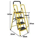 Guoyajf Klappbare 4-Stufen- / 5-Stufen-Sicherheitsleiter - Rutschfester Trittleiter-Klappstuhl mit rutschfesten Seitenhandläufen,Trittleiter für Heim und Büro,4Step