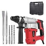 Matrix 120200440 Bohrhammer SDS Plus im Koffer, Stemmhammer 850 Watt, inkl. 2 Meißel, 3 Bohrer 8mm, 10mm, 12mm x 150mm, 3400 Schläge/Min 4 Joule Schlagkraft, rot, schwarz, 40cm