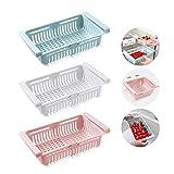 KühlschrankSchubladen Organizer, Ausziehbare Aufbewahrungsbox,Kühlschrank Lagerung Korb (Weiß + Pink + Blau)