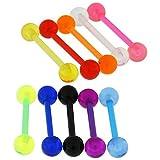 10 Stück Packung UV-Maskenball mit 16MM Länge - 14 Gauge Bioplast Flexible Straight Barbell Zunge Bar Piercing