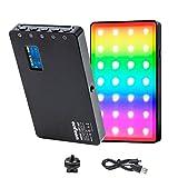 LED Videoleuchte RGB mit eingebautem Akku,Dimmbare Videolicht 2500K-8500K, Kamera Licht Dauerlicht CRI96+/TLCI98+,Klein Tragbar Mini Aluminium Fotolampe für DSLR Camcorder Smartphone Selfie