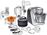 Bosch MUM5 Styline Küchenmaschine MUM56340, vielseitig einsetzbar, große Edelstahl-Schüssel (3,9l), Durchlaufschnitzler, Mixer, Zitruspresse, Fleischwolf, 900 W, silber/anthrazit