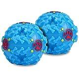 Urpet 2 x Hundespielball in Blau 7cm Futter-Ball aus Kunststoff | Intelligenz-Spielzeug für Hunde Welpen | Robuster Snackball interaktiver Hundeball mit Futterausgabe und Geräuschen Kauspielzeug