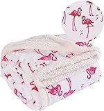 Rose Home Fashion Flamingo Kuscheldecke 150 X 200 cm, Weiche Wohndecke Tagesdecke, Flaushige und Plüsche Fleecedecke, Weiß