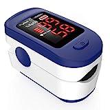 Pulsoximeter, AGPTEK Fingeroximeter zur Messung der Sauerstoffsättigung im Blut SpO2, Fingerpulsoximeter zur Pulsmessung mit LED-Anzeige und Zubehör, einfacher One-Touch Bedienung, Blau und weiß