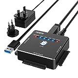 USB IDE oder SATA Adapter, FIDECO USB 3.0 Aluminium Festplattenadapter für 2.5/3.5 Zoll SATA HDD/SSD & 3.5 Zoll IDE Festplatten, Unterstützt Offline Klon