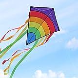 Homegoo Drachen Flugdrachen Einleiner, Easy Flyer Regenbogendrachen Bastelset für Erwachsene Leichtes Fliegen im Freien bei starkem oder leichtem Wind 74 * 65cm