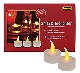 Idena 50023 - 24 Stück LED Teelichter, elektrische Kerzen mit flackerndem Licht, inklusive Batterien, Deko für Hochzeit, Party, Weihnachten, im Karton, Ostern, als Stimmungslicht