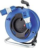 as - Schwabe CEE-Camping-Caravan-Gerätetrommel 230 V, CEE-Stecker & CEE-Kupplung mit powerlight Spannungsanzeige, 25 m schwere Gummileitung, für Außenbereich, IP44, Blau I 12270