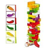 Arkmiido Stapelspiel Aus Holz Bausteine mit Farben und Gemüse, Kinderspiel ab 3 Jahre, holzspielzeug Kinder Geschenk für Kinder,Spielzeug für Mädchen und Jungs von 3 bis 9 Jahren (54 Stück)
