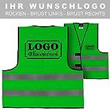 Warnweste Signalweste Sicherheitsweste bedruckt mit Wunschlogo Name Text Motiv GRÜN Rücken (290 x 210 mm)