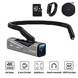 ORDRO EP7 Tragbare Camcorder 4K HDR-Video 20MP 90°Winkelobjektiv Kamera FPV Video Kamera mit Gimbal Stabilizer, Fernbedienung, 32G TF Karte