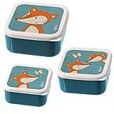 sigikid, Jungen, 3er Set Snackboxen, Motiv Fuchs, Blau, 24985