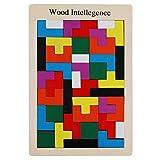 40 Stück Tetris Holzpuzzle Spielzeug Geometrisch Formen Tetris Tangram Holzpuzzles Lernspiele Baustein ab 2 3 4 5 6 Jahre Geburtstag Junge Geschenk Puzzle Holz Spielzeug mit Box Knobelspiel