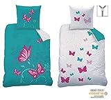 CTI Wende-Bettwäsche Set Butterfly Größe 135 x 200cm 80 x 80cm 100% Baumwolle Linon türkis pink Schmetterlinge Mädchen-Bettwäsche