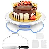 AIMTOP Tortenplatte Drehbar Tortenständer Kuchen Drehteller Cake Decorating Turntable mit 1 Stück Winkelpalette Set, 3 Stück Icing Smoother, für Backen Gebäck, Zuckerguss, Mustern 30x8 cm Weiß