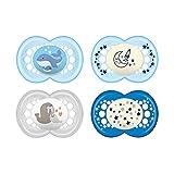MAM Day & Night Schnuller-Set im 4er-Set, 2x MAM Original und 2x MAM Night, zahnfreundlicher Silikonschnuller aus speziellem MAM SkinSoft Silikon mit Schnullerbox, 16+ Monate, blau